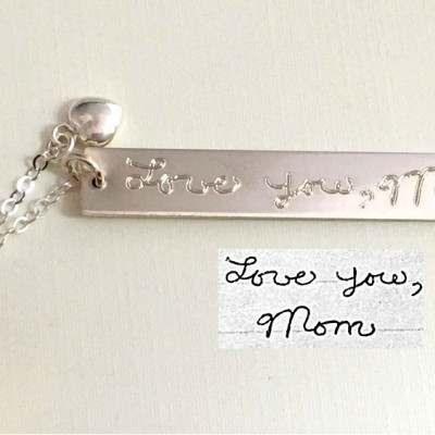 Handwriting Necklace Vertical Bar Sterling Silver Custom handwriting Necklace with heart/ Gold Plated Necklace memorial handwritten jewelry