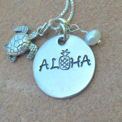 Hawaiian Jewelry, Hawaiian Necklace, Pineapple Necklace, Aloha Pineapple Necklace , Hawaii, Aloha Necklace, natashaaloha