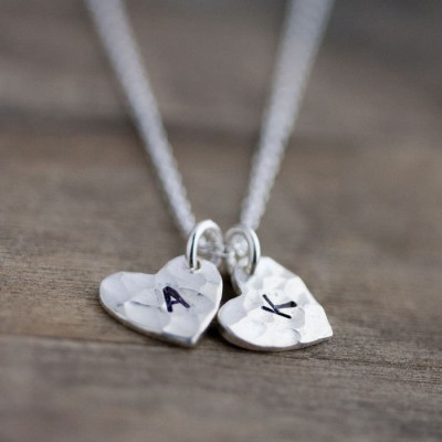 Heart Mommy Necklace, Custom Hand Stamped Necklace Jewelry, Personalized Gift for Mom, Jewelry for Grandma, Mom Gift, Initial Necklace