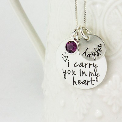 I carry you in our heart necklace - remembrance jewelry - memorial necklace - Keepsake jewelry - adoption jewelry - tagyoureitjewelry etsy
