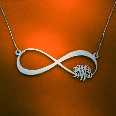 Infinity Monogram Necklace With Name Personalized infinity Monogram Silver Name Mecklace Family Necklace Sign of Infinity Christmas Sale