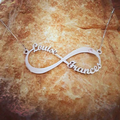 Infinity Name Necklace / 2 Name 2 Birthstone Silver Name Necklace / Personalized Infinity Name Necklace Mother Day Gift SALE