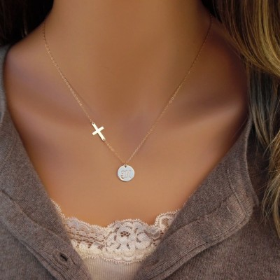 Initial Disc with Cross Necklace, 18kt Gold Plated, Gold Disc, Gold Cross, Personalized Cross Necklace, Jewelry of Faith, Gold Initial Disc