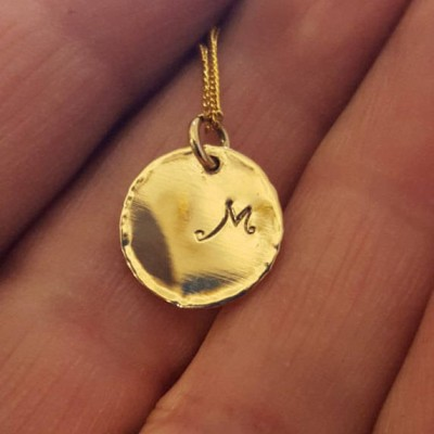 Initial Disk Necklace, 18k Gold Disk Necklace, Gold Necklace, Monogram Letter Disc, Personalized Gold Necklace, Large Circle Tag, Handmade