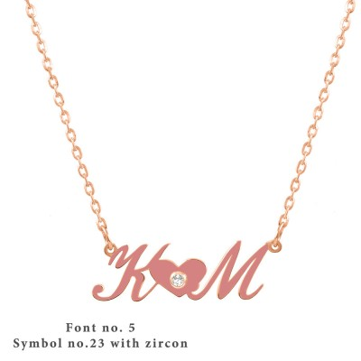 Initial Enamel Necklace Sterling Silver 925,Rose Gold Necklace,Yellow Gold Necklace,Monogram Necklace,Personalized Necklace,Symbol Necklace