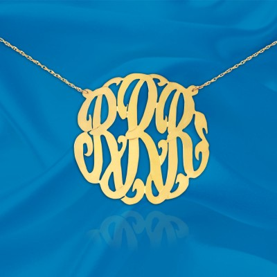 Initial Necklace - 1 1/4 inch Sterling Silver 18k Gold Plated -Handcrafted Monogram Initial Necklace - Made in USA