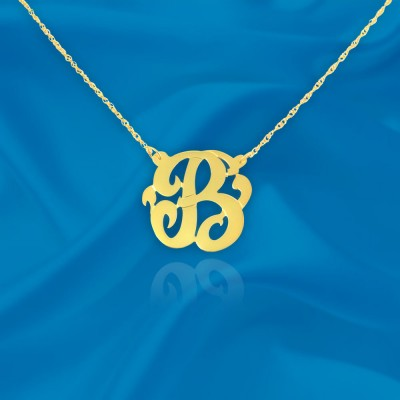 Initial Necklace 18k Gold Plated Silver Personalized Name Initial Necklace with Initial of Your Choice - Made in USA