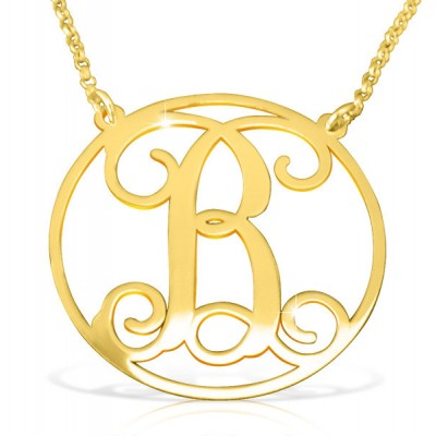 Initial Necklace/ Circle initial/ Gold Plated Initial Name Necklace Gold/ Birthday Gift For Woman/ Birthday Gifts/ Initial Name Necklace