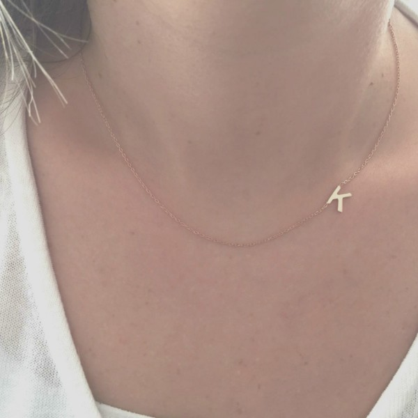 Initial Necklace Gold, 18k Gold initial Necklace, Custom initial necklace, Sideways initial necklace, Personalized necklace