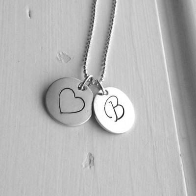 Initial Necklace, Heart Necklace, Letter B Necklace, Initial Jewelry, Heart Jewelry, Charm Necklace, Sterling Silver Jewelry, All Letters