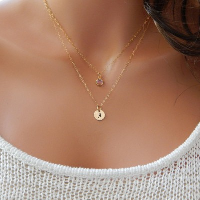 Initial and Birthstone Necklace • Personalized Monogram Gift for Mom Women Girlfriend Sister • Layered Monogram Disc [CUD9] [1719-202 L]