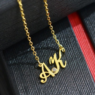 Initials Necklace Sterling Silver 925,Rose Gold Necklace,Yellow Gold Necklace,Monogram Necklace,Personalized Necklace,Bridesmaids Gift