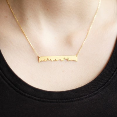 Istanbul Skyline Necklace-Statement Necklace-Matte Gold Plated Brass