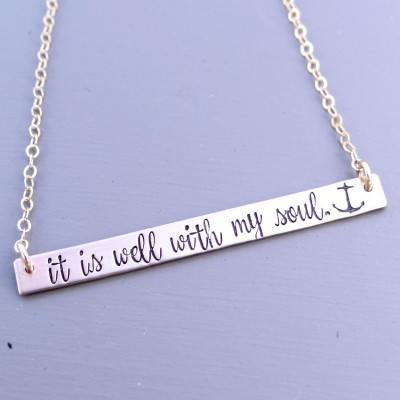 It Is Well With My Soul Bar Necklace with Anchor. Hand Stamped Gold, Rose Gold, Or Sterling Silver Thin Bar Necklace. Inspirational Jewelry