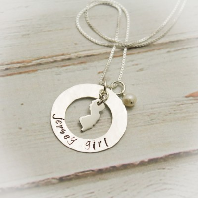 Jersey Girl Washer Necklace with Pearl or Birthstone Personalized Hand Stamped Jewelry