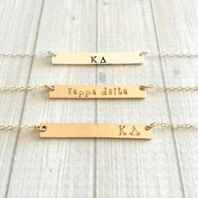 KAPPA DELTA Necklace - Kappa Delta Jewelry - Sorority Bar Necklace - Sorority Jewelry - Sorority Necklace - Big Little Gift