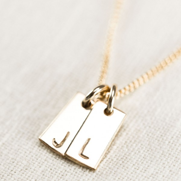 kanae necklace two charm gold initial necklace custom gold