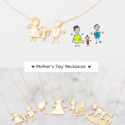 Kids' Drawing Necklaces - Engraved Children Artwork - Happy Mother's Day Jewelry - Special Jewelry for Moms - Gifts for Moms - #PN02DRE