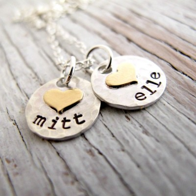 Kids Name Necklace, Hand Stamped, Sterling Silver, Hammered, Gold Hearts, Personalized, Mother's Necklace