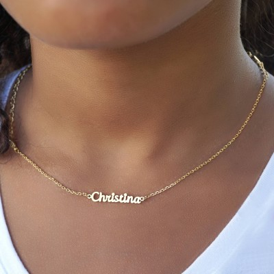 Kids Personalized Name Necklace - Customize it With Your kid's Name - Nameplate Necklace in Sterling Silver, 18k gold-plated, Solid Gold