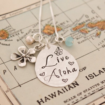 LIVE ALOHA Necklace, Plumeria Necklace, Hawaiian Jewelry, Hand Stamped Necklace, Personlized Jewelry