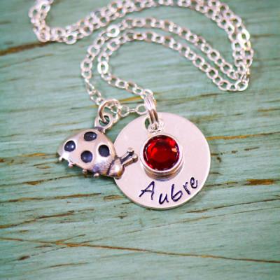 Ladybug Gift Silver Ladybug Necklace • Red Ladybug Charm Summer Gift Personalized Girl Name Custom•Bug Necklace Little Girl Gift