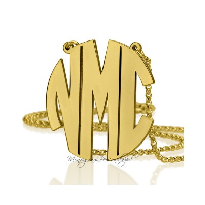Large Gold Block Monogram Necklace - 1.75 inch / 4.4cm - Gold plated - Initial Monogram