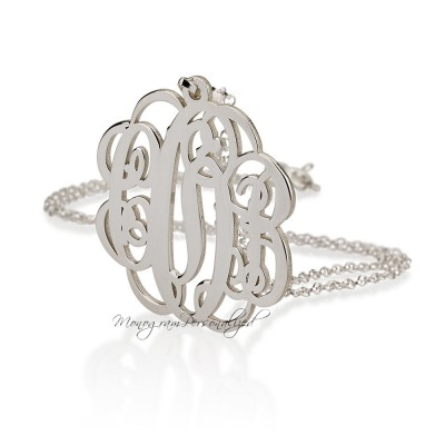 Large Monogram necklace - 2 inch Personalized Monogram - 925 Sterling Silver