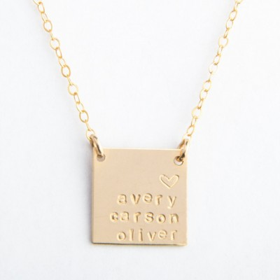 "Large Square Necklace, 5/8"", Personalized, Handstamped, Name Necklace, Date, Gold Plated or Sterling Silver"