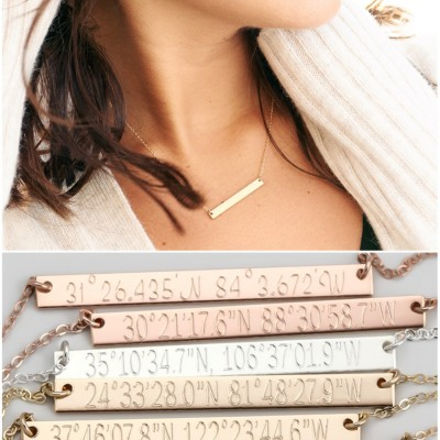 Latitude Longitude Necklace, Personalized Gold Bar Necklace, Rose Gold Bar, Personalized Gift, Bridesmaid Jewelry, Bridesmaid Gift