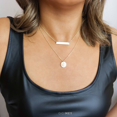 Layered Necklace Set With Layering Silver, Gold Bar and disc, Dainty Layered Necklaces, in Silver, Rose Gold Plated, Gold Plated • LNS03