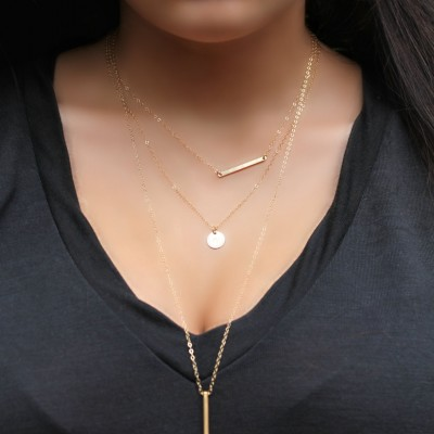Layered SET of Two necklaces, horizontal bar &, Initial disc, 18kt Gold Plated personalized stamped tag, 2 chains, custom Monogram Letter