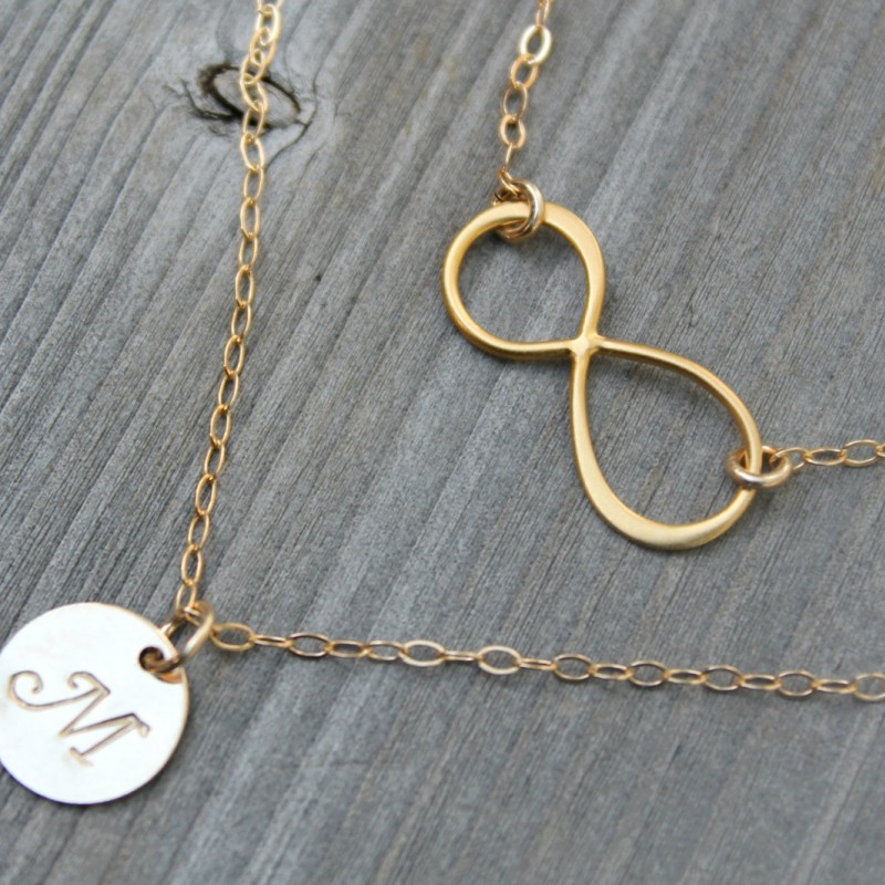 8fc1b8510 ... Layered infinity and Initial Necklace, 18kt Gold Plated personalized  stamped disc Double chain Monogram Letter ...