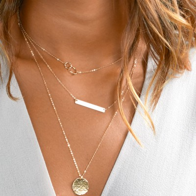 Layering Necklaces Set W. Gold Bar Necklace, Engraved Bar Necklace, Delicate Layering Necklaces, Nameplate, Mothers Necklace