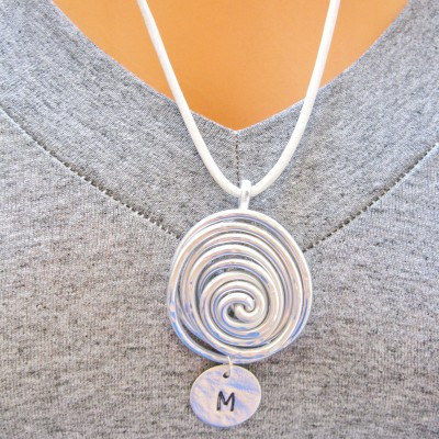 Leather Necklace, Silver Spiral Pendant, Black Leather Necklace, Initial necklace, Black Leather Necklace Silver Pendant, Handmade Necklace,