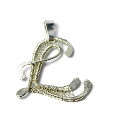 Letter L Pendant Initiale for Women in Sterling Silver