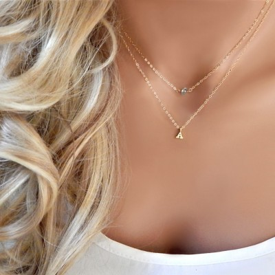Letter Necklace • Initial • Letter Charm • Custom Initial Charm • Layered Gemstone Initial Gold Silver • Bridesmaids Gift • Gift for Her