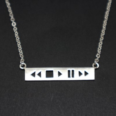 Life Control Bar Inspirational Necklace - Backward, Rewind, Play, Forward, Pause, Repeat, Bar Necklace, Gift for Her, Wife, Women