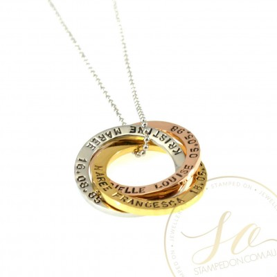 Linked Rings Personalised Hand Stamped Pendant & Chain - Mixed Tone Sterling Silver Silver, Gold IP and Rose Gold IP