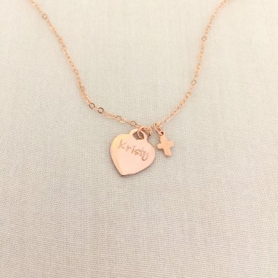 Little Girl Cross Necklace, Rose Gold Heart, Baptism Gift, Tiny Cross, Confirmation Necklace, First Communion Gift, Goddaughter Gift