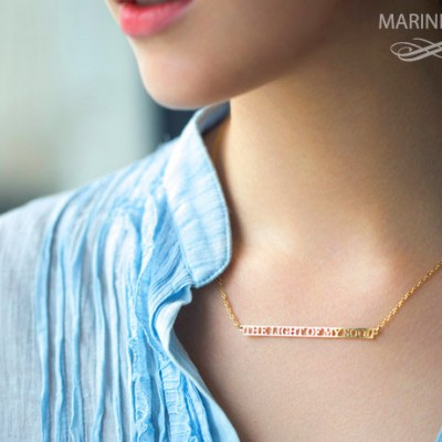 Long Bar Necklace - Personalized Mantra Necklace -