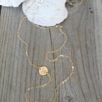 Long Personalized 18k Gold Plated Initial Necklace, cracked aquamarine, alice blue, crystal, grey charcoal black diamond, stamped monogram