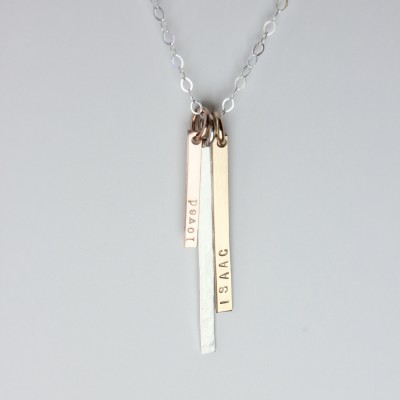 Long Vertical Bar Necklace with names, personalized, custom, gift for mom, three, minimalist silver, rose Gold Plated, yellow Gold Plated