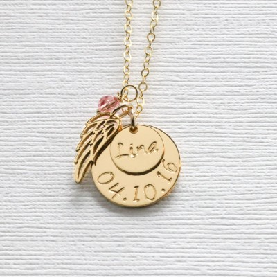 Loss of Baby Necklace, Miscarriage Gift, Mommy of an Angel, Birthdate, Personalized Remembrance Necklace, Gold Angel Wing, Infant Memorial