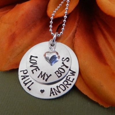 Love our boys necklace Mothers day gift, Mothers day necklace mom of boys Gift from son Sterling silver Hand stamped, Mothers necklace twins