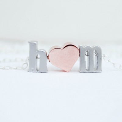 Love necklace, initial heart necklace, Couples necklace, Initial Necklace,Silver Necklace