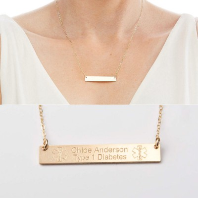 Medical Alert Necklace - Custom Medical ID Jewelry-Personalized Gold Bar-18k Gold Plated-Rose-Sterling Silver-CG287N_1.5X0.25