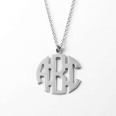 Mem Monogram Necklace, Block Monogram Necklace, Personalized Monogram Necklace, Unisex Monogram Necklace, unisex initials Necklace, men