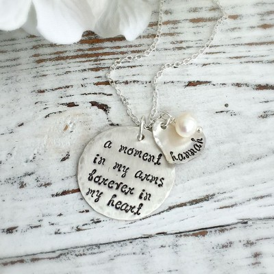 Memorial Necklace . A Moment In My Arms Memorial Necklace . Mother Memorial . Loss . Remembrance Necklace . Healing . Comforting