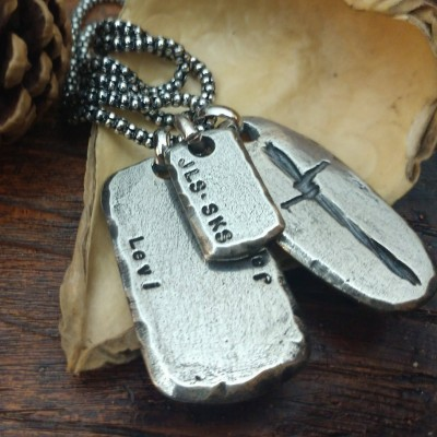 Mens Necklace Dog Tag Personalized Necklace Name Necklace for Him Gift for Husband Boyfriend Valentines Day Gift for Him Fathers Day